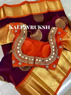 Mirror work blouse on kanchipuram saree Wedding Saree Blouse Designs, Pattu Saree Blouse Designs, Blouse Designs Silk, Choli Designs, Designer Blouse Patterns, Mirror Work Blouse Design, Mirror Work Saree Blouse, Maggam Work Designs, Simple Blouse Designs