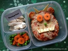 Gruffalo Themed Lunch for World Book Day - complete with 'owl icecream', 'scrambled snake' and 'roasted fox' FANTASTIC!