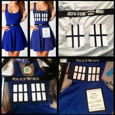 This is for all the Doctor Who fans. Doctor Who TARDIS Dress DIY Can i please be the Tardis for Halloween? Doctor Who Tardis, Doctor Who Party, Diy Doctor, Tardis Costume, Tardis Dress, Tardis Cosplay, Diy Dress, Fancy Dress, Dress Up