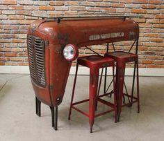 comptoir tracteur upcyclé