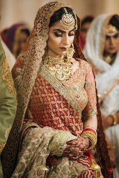 The Indian bride is synonymous with many things, and Indian bridal jewellery is certainly one of them! If you're gearing up for your wedding, check out these jewellery pieces for inspiration on what to buy! Wedding Lehnga, Indian Bridal Lehenga, Indian Bridal Outfits, Indian Bridal Fashion, Indian Bridal Wear, Bridal Dresses, Sikh Wedding Dress, Indian Wear, Punjabi Bride