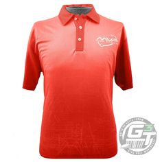 MVP Disc Sports Graph Sublimated Short Sleeve Performance Disc Golf Polo Shirt - L / Red