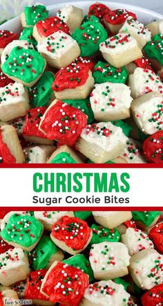 Christmas Sugar Cookie Bites - one of our favorite Christmas Desserts is this unique take on a classic frosted sugar cookie. Colorful and festive and super delicious this is a fun and easy Christmas dessert that you can make with your kids.  #ChristmasDessert #ChristmasDesserts #EasyChristmasDessert #FunChristmasDessert