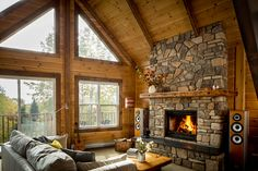 Perfect fireplace in this rustic cabin in the mountains! Love it!
