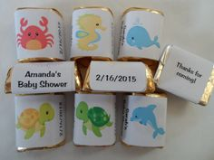 30 Unique Personalized Under the Sea Baby Shower, Birthday Hershey's nugget labels, candy wrappers, Unique Baby Shower Favors, Cute Baby Shower Ideas, Baby Shower Themes, Baby Boy Shower, Baby Shower Gifts, Candy Labels, Candy Wrappers, Candy Favors, Baby Shower Favors