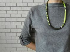 Bead Crochet Necklace With Lime and Mint by Chudibeads on Etsy