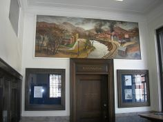 """Appalachia VA Post Office Mural New Deal mural entitled """"Appalachia"""" painted in 1940 by Lucile Blanch Mural Painting, Paintings, Office Mural, Work Project, Post Office, Murals, Virginia, Public, Culture"""
