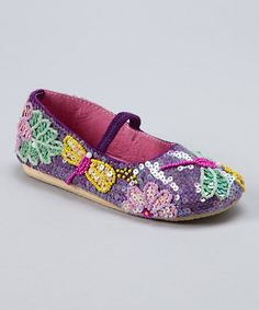 Take a look at this Purple & Green Dragonfly Beaded Flat by Fairy Dreams on #zulily today!