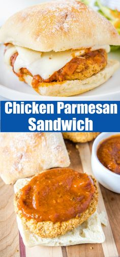 Chicken Parmesan Sandwich - Turn the classic Italian dish into a quick and easy sandwich! Crispy chicken, melty cheese, and marinara sauce all inside a toasted bun. Fun Easy Recipes, Easy Snacks, Brunch Recipes, Gourmet Recipes, Dinner Recipes, Amazing Recipes, Appetizer Recipes, Yummy Recipes, Chicken Parmesan Sandwich