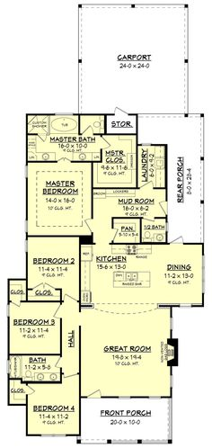 This wonderful 3 bedroom, 2 ½ bath house plan is loaded with features and style. It offers a luxurious master suite, oversized closet, mudroom entry with lockers, large walk-in pantry. The only thing - I'd rearrange the kitchen. Dream House Plans, Small House Plans, House Floor Plans, 2200 Sq Ft House Plans, Cozy Cottage, Cottage Homes, The Plan, How To Plan, Plan Plan