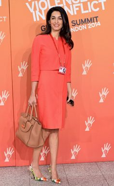 Pin for Later: Would You Wear Amal Alamuddin's Namesake Handbag? Amal Alamuddin Rocked the Amal Bag With a Coral Dress Suit and Floral Pumps