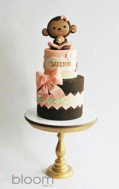 Adorable Pink and Brown Monkey Cake cupcake