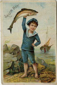 Sailor Boy   cod liver oil vintage trade card
