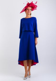efc75926bbc66 Cassandra Flared Dress & Jacket, Royal Blue