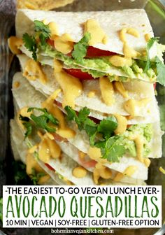 "This lunch is so easy, it will have you saying ""Yo quiero avocado quesadillas"" faster than a talking chihuahua! A snap to pull together, plus totally customizable. Vegan Mexican Recipes, Vegan Lunch Recipes, Vegan Lunches, Delicious Vegan Recipes, Vegan Dinners, Healthy Recipes, Vegetarian Mexican, Entree Recipes, Healthy Food"