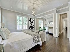 What a stunning bedroom with sitting room from The wall color is perfection! I haven't been able to confirm color but it looks identical to Sherwin Williams Mindful Gray. Mindful Gray is (Best Paint Most Popular) Home Staging, Vintage Bedroom Styles, Houston Houses, Mindful Gray, Elegant Kitchens, Pretty Bedroom, Home Decor Bedroom, Bedroom Inspo, Bedroom Furniture