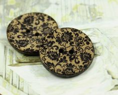 Flower Wooden Buttons - Black Lace Flowers Coconut Buttons 1 inch . 6 in a set on Etsy, $3.00