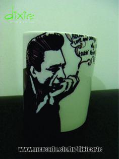 Caneca Johnny  Cash  www.elo7.com.br/dixiearte