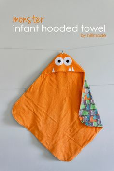 Monster Infant Hooded Towel Tutorial.  I'd probably just leave off the monster face and use an old beach towel instead of buying expensive terry cloth.  It's 30×30