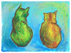 Two Cats After van Gogh Prints by PortraitsOfAnimals on Etsy, $15.00