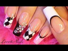 Glitter Camouflage French Manicure Nail Art Design Tutorial - YouTube
