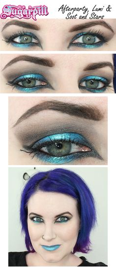 Teal and Grey eyeshadow tutorial. Great way to wear these colors!  Sugarpill Afterparty, Lumi and Soot & Stars.  #crueltyfree #vegan #makeup #eyeshadow #tutorial #sugarpill