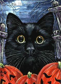ACEO HALLOWEEN BLACK CAT FRIGHT NIGHT EDT PRINT PAINTING ANNE MARSH | eBay