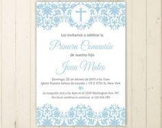 invitacion de comunion niño azul imprimible por RebeccaDesigns22