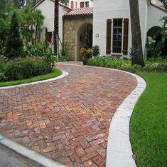 Concrete driveway with paver border driveway walkway for Half circle driveway design