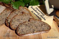 Vícezrnný kváskový chleba se semínky Bread Bun, How To Make Bread, Ham, Banana Bread, Food And Drink, Cooking, Diet, Kitchen, How To Bake Bread