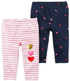 Mix and match with these stretch leggings, equipped with covered elastic waistbands and heart detail. Baby Girl Bottoms, Baby Girl Pants, Baby Girl Dresses, Carters Baby Clothes, Carters Baby Girl, My Baby Girl, Little Girl Fashion, Kids Fashion, Toddler Leggings