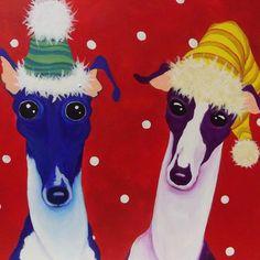 Kerstkaarten Italiaanse Greyhounds kaarten set van 6 door Courtsart