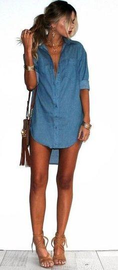 #summer #girly #outfitideas | Denim Shirt Dress