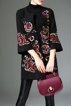 Embroidered Floral Wool Blend Coat