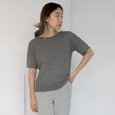 Shibui SS15 Etch – A dramatic, textured pattern creates plenty of interest in this short-sleeve cardigan. Etch is cool and clean, with a roomy fit.