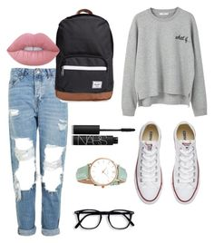 """Untitled #105"" by ash2727 ❤ liked on Polyvore featuring Topshop, MANGO, Converse, Herschel Supply Co., Lime Crime, CLUSE and NARS Cosmetics"