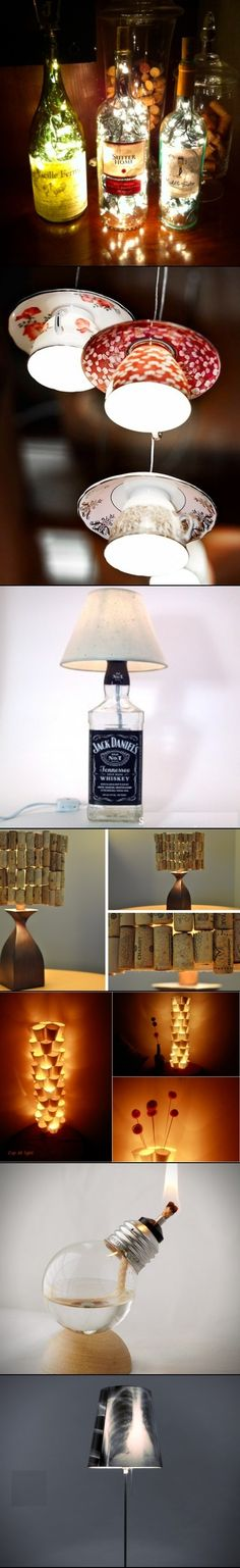 DIY ideas for Recycled Lamps. I dont like the cork shade or thr x-ray shade. But the rest are cool! Diy Projects To Try, Craft Projects, Recycled Lamp, Diy Luminaire, Deco Restaurant, Ideias Diy, Diy Recycle, Reuse, Diy Weihnachten