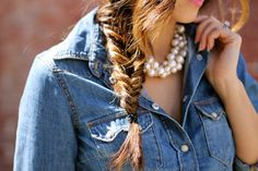 Fishtail braid, denim button-down and statement necklace and lip color