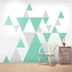 Geometric Wall Sticker Set | Light Grey and Blue