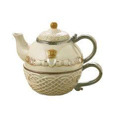 Grasslands Road Celtic 16-Ounce Claddagh Stacking Tea For One Teapot with Teacup