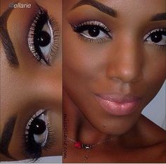Makeup for black women. Silver and black eyeliners, and matching eye shadows. #EidelPrecious