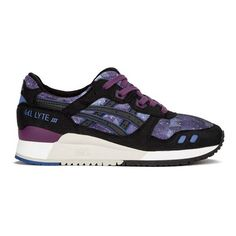 Asics Women's Gel-Lyte III Trainers - Monaco Blue/Black (1 840 UAH) ❤ liked on Polyvore featuring shoes, sneakers, tiger sneakers, colorful sneakers, blue flat shoes, multi colored sneakers and galaxy shoes