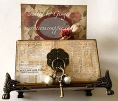 Beautiful Altered Box and Mini Tag Album--front of box