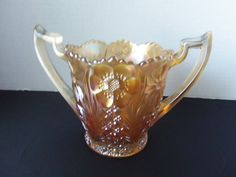 U S Glass Cosmos and Cane Carnival Glass Honey Amber Spooner