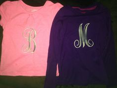 Monogrammed initial tees for my girls