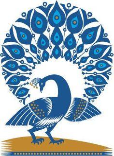 Illustrated peacock. #blue #birds #illustration
