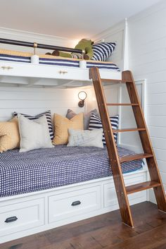 Beach House bunk room. Design by Nicki Bongiorno of spaces kennebunkport