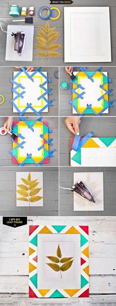 Leaf Geometric Tape Painting