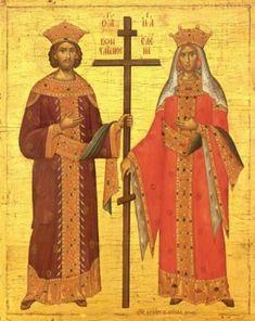 St Constantine, Constantine The Great, Byzantine Art, Byzantine Icons, Religious Icons, Religious Art, Hagia Sophia, Orthodox Icons, Christian Art