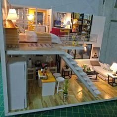 Casas Loft House, Sims House, Home Interior Design, Interior Architecture, Deco Studio, Compact House, Appartement Design, Barbie House, Tiny House Design